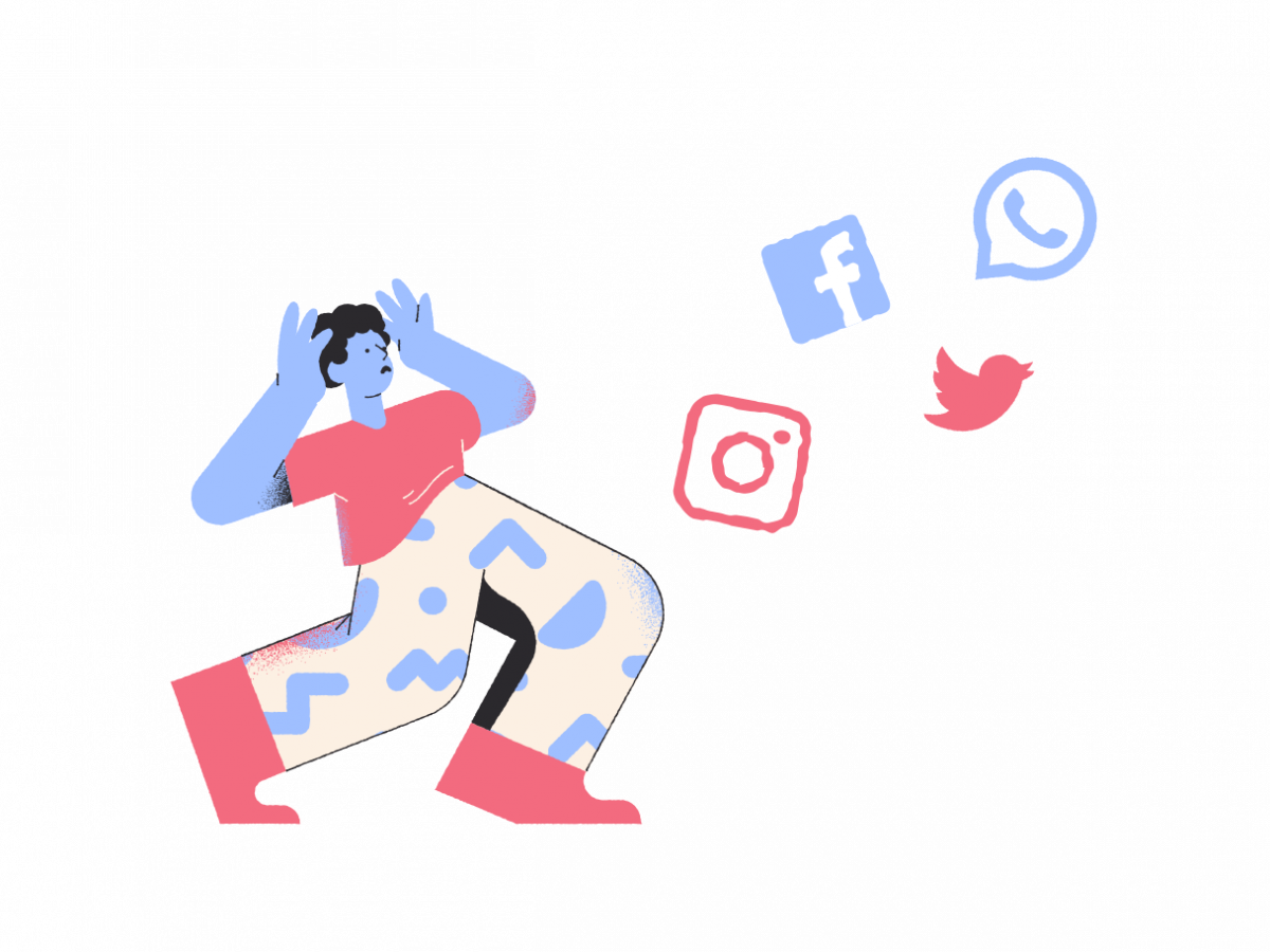 Graphic of a worried character looking at different social media logos to represent how this articled is Bill C-10 explained