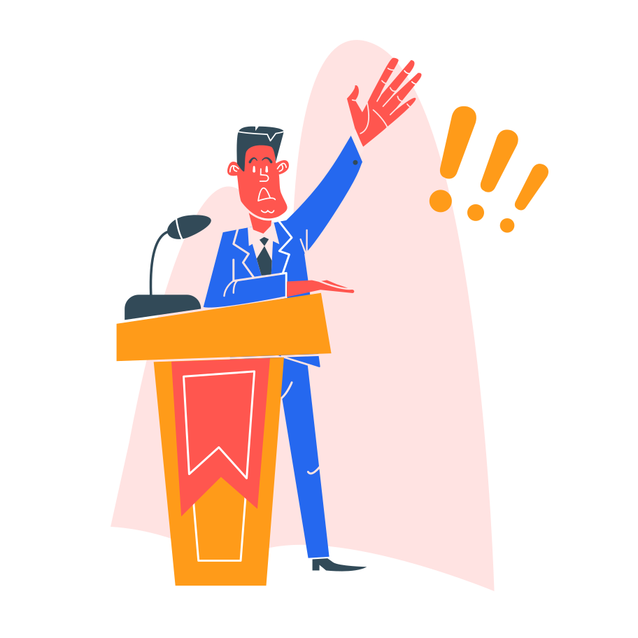 A graphic of a politician to represent how politics is like running a tech startup by Phil De Luna