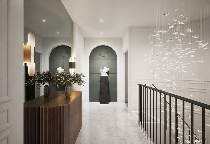 Hallway with statue