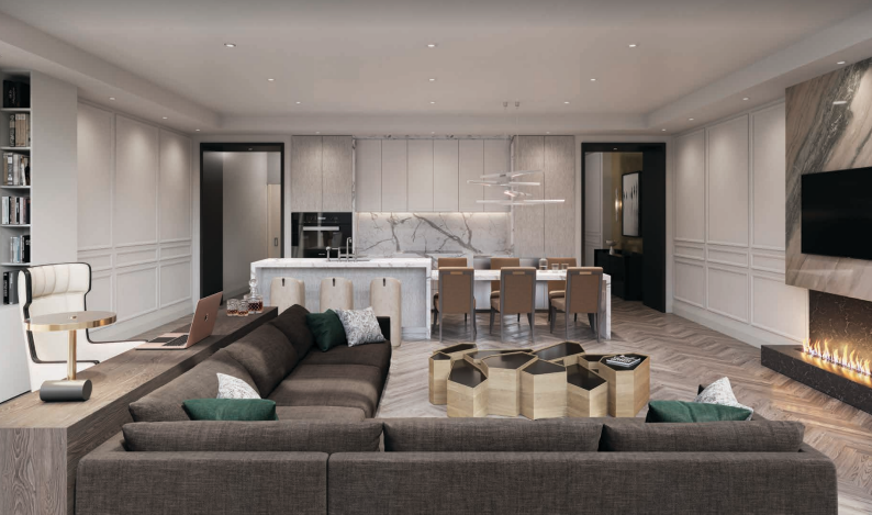 Living room space with luxury finishes